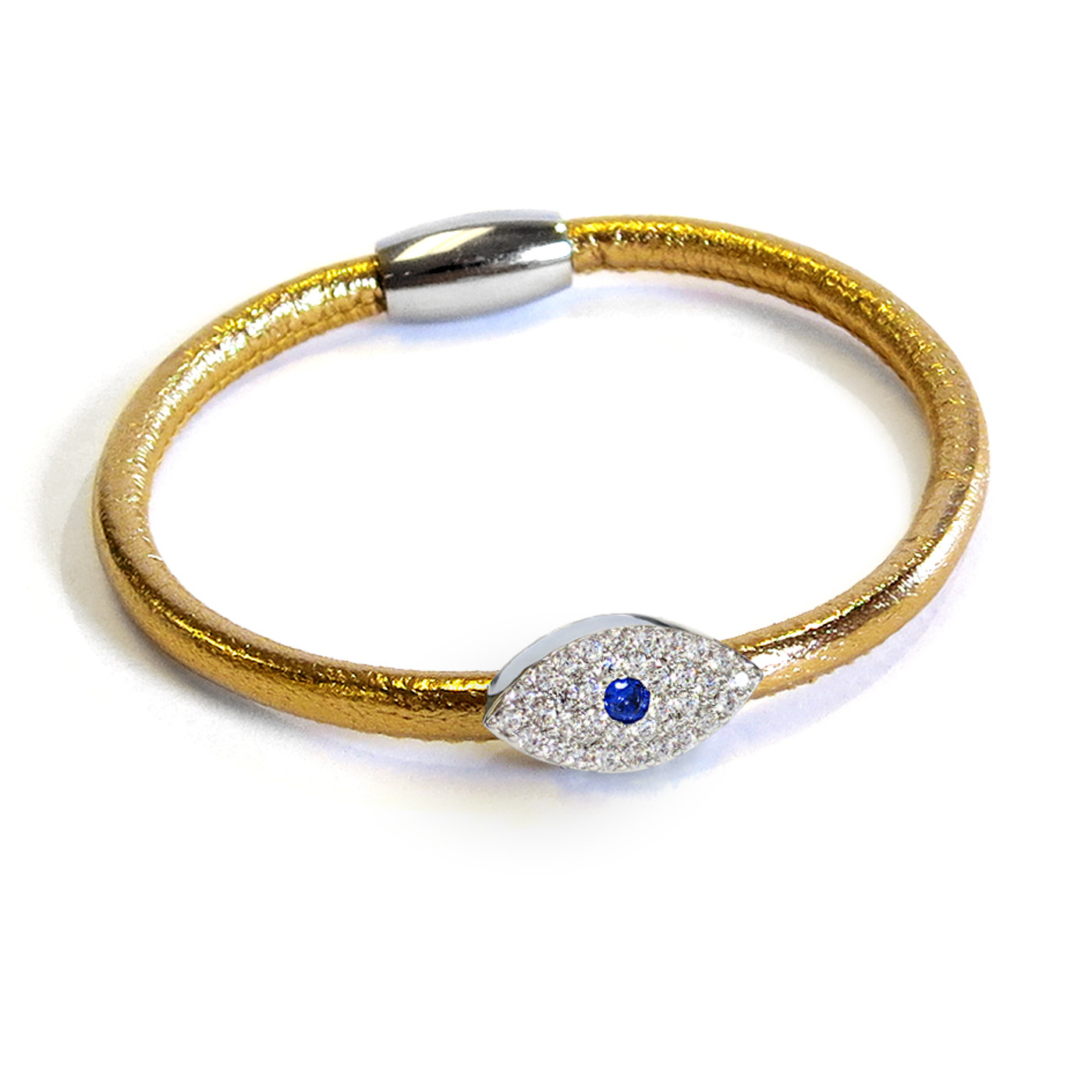 Metallic Sapphire Evil Eye Leather Bracelet