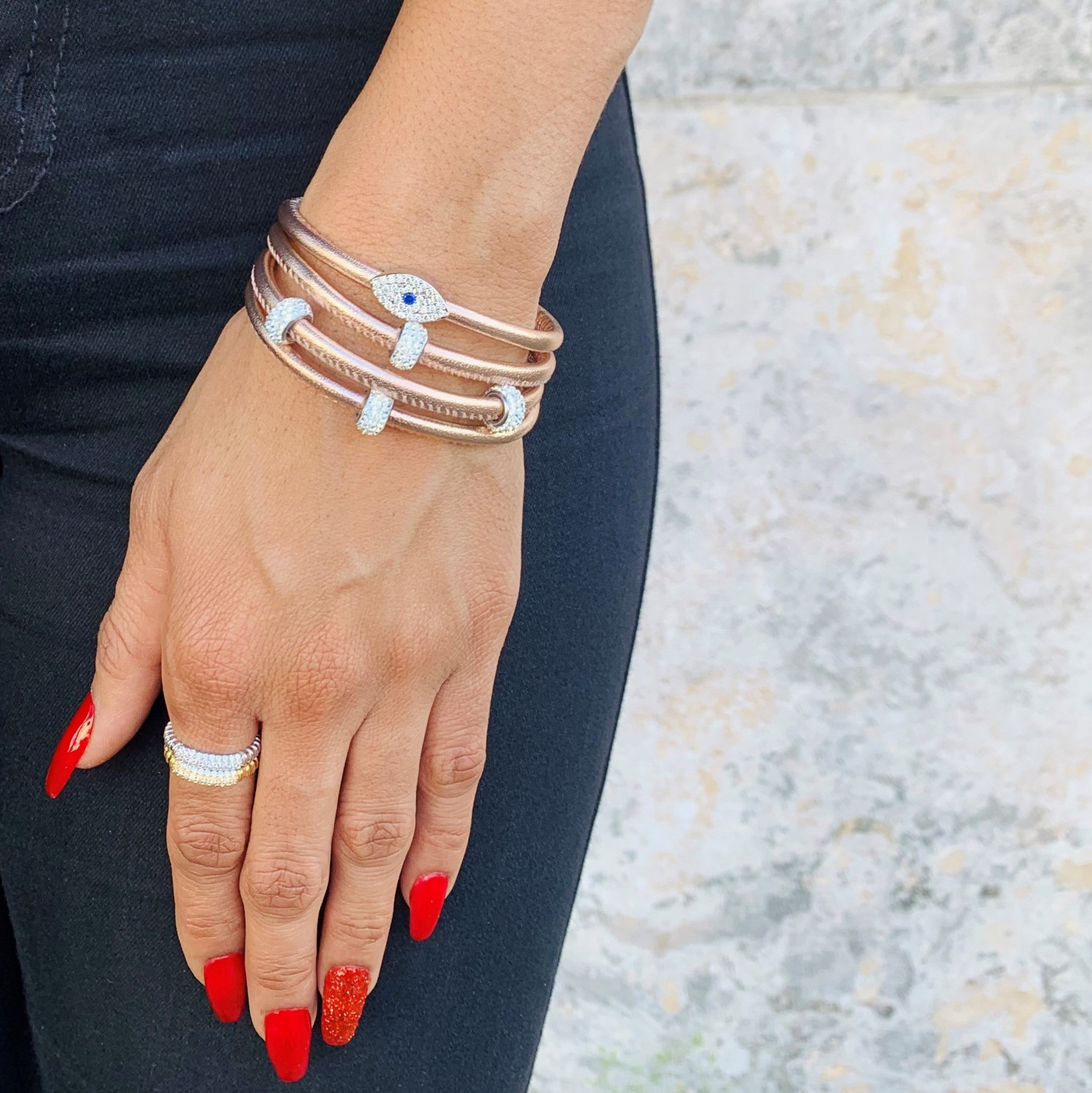 Metallic Sapphire Evil Eye Leather Bracelet