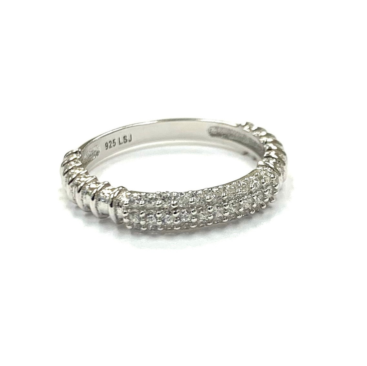 Sterling Silver Pave Bar Ring