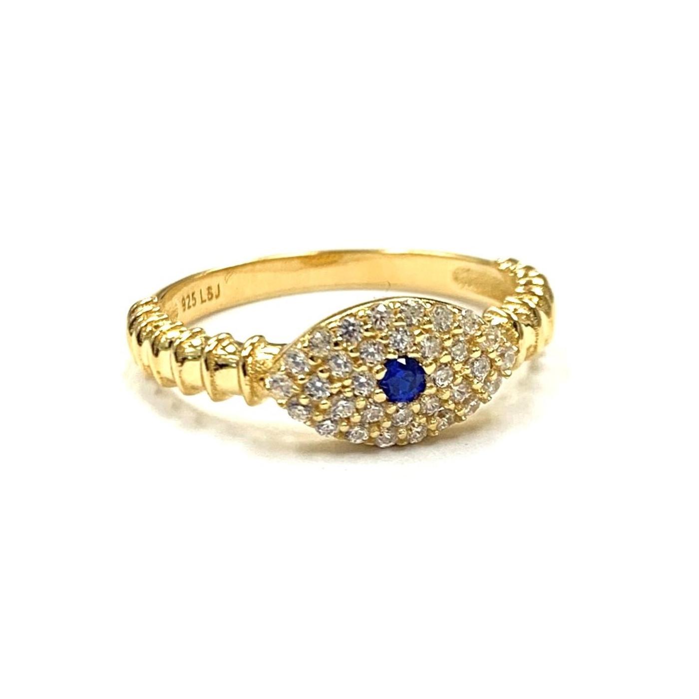 18K Gold over Sterling Silver Sapphire Evil Eye Ring