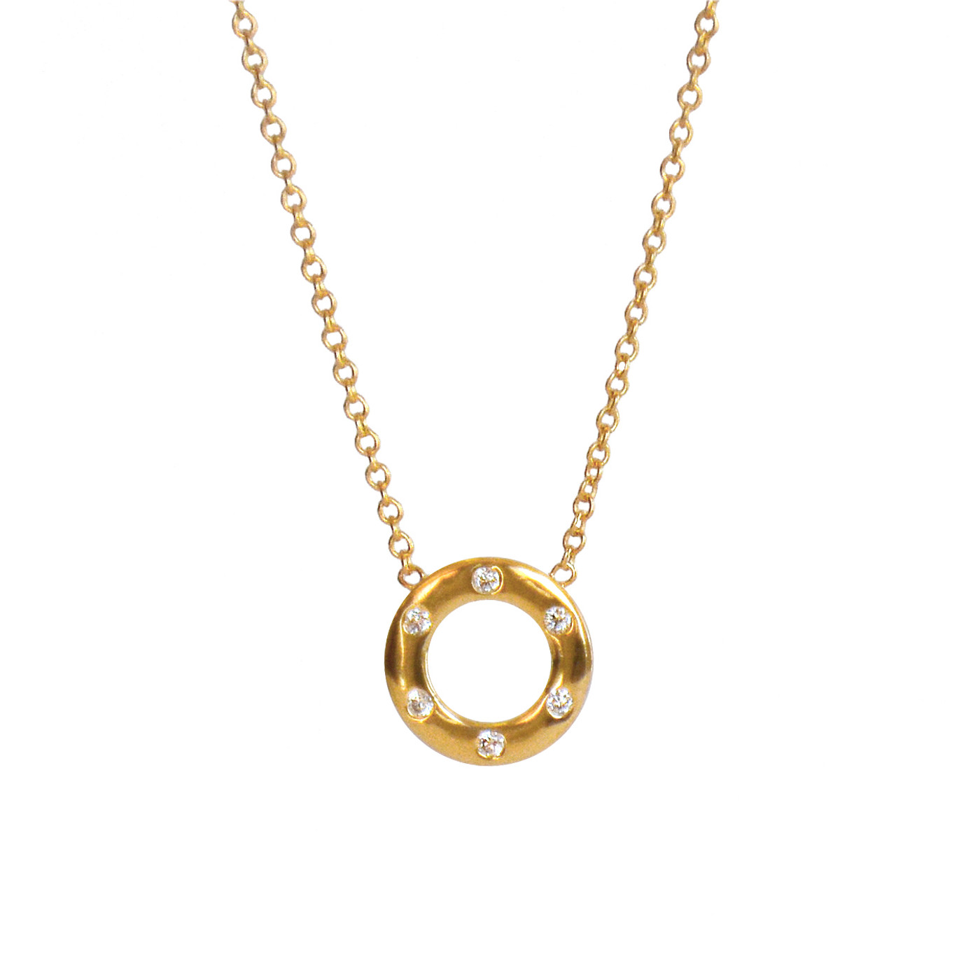 Diamond Circle Necklace Yellow Gold