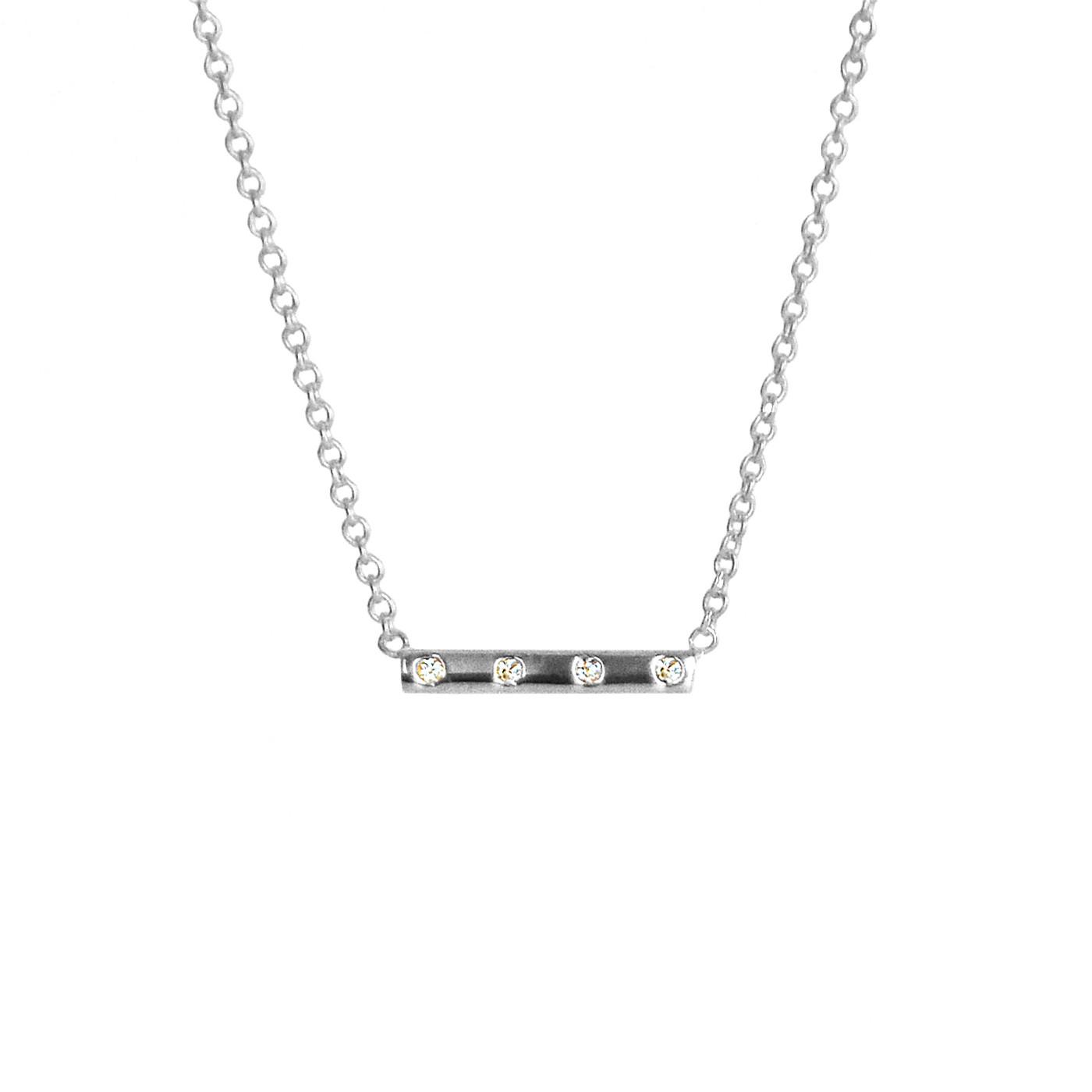 Diamond Bar Necklace White Gold