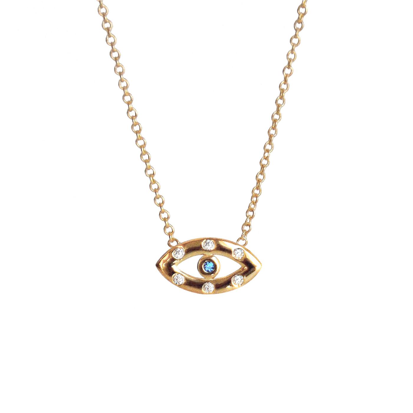 Diamond Sapphire Evil Eye Necklace Yellow Gold