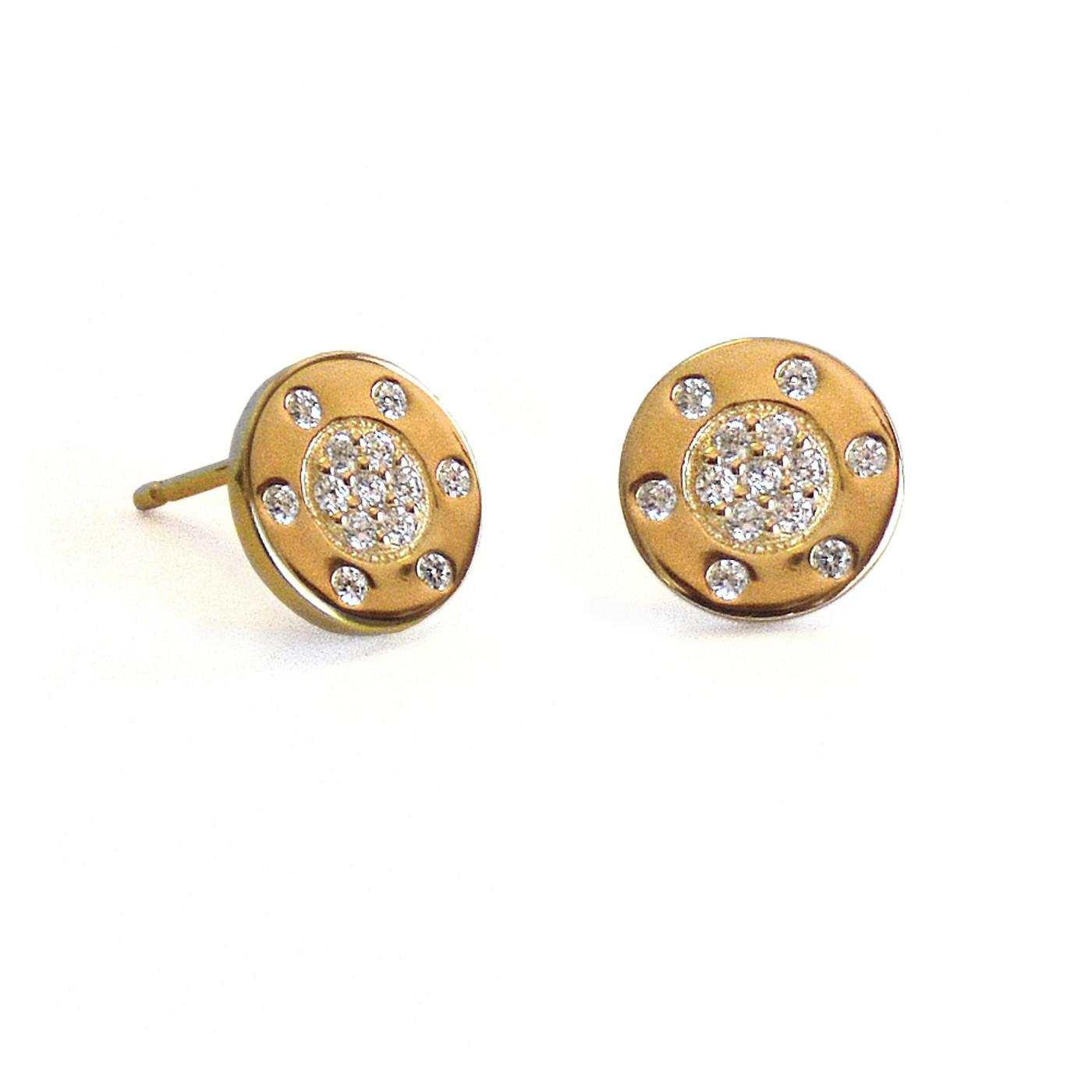 Diamond Circle Stud Earring Yellow Gold