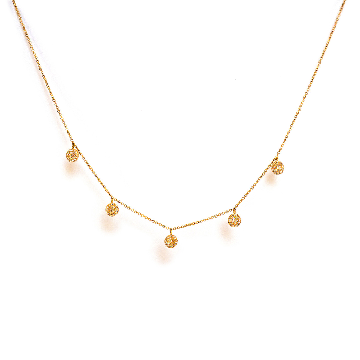 Diamond 5 Circle Necklace Yellow Gold