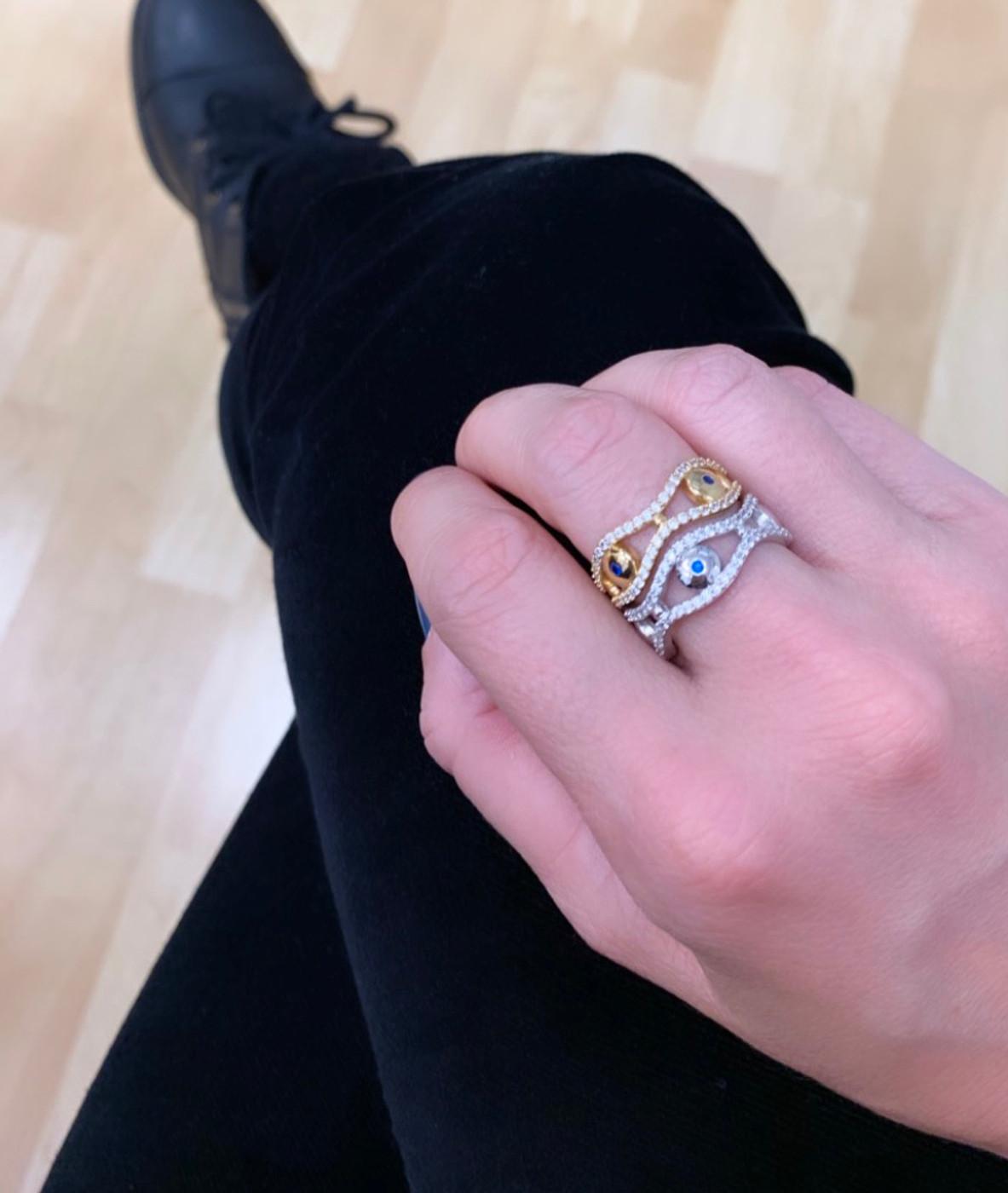 18K Gold over Sterling Silver Evil Eye Eternity Ring