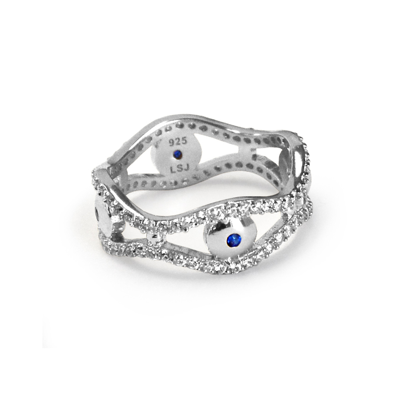 Sterling Silver Evil Eye Eternity Ring