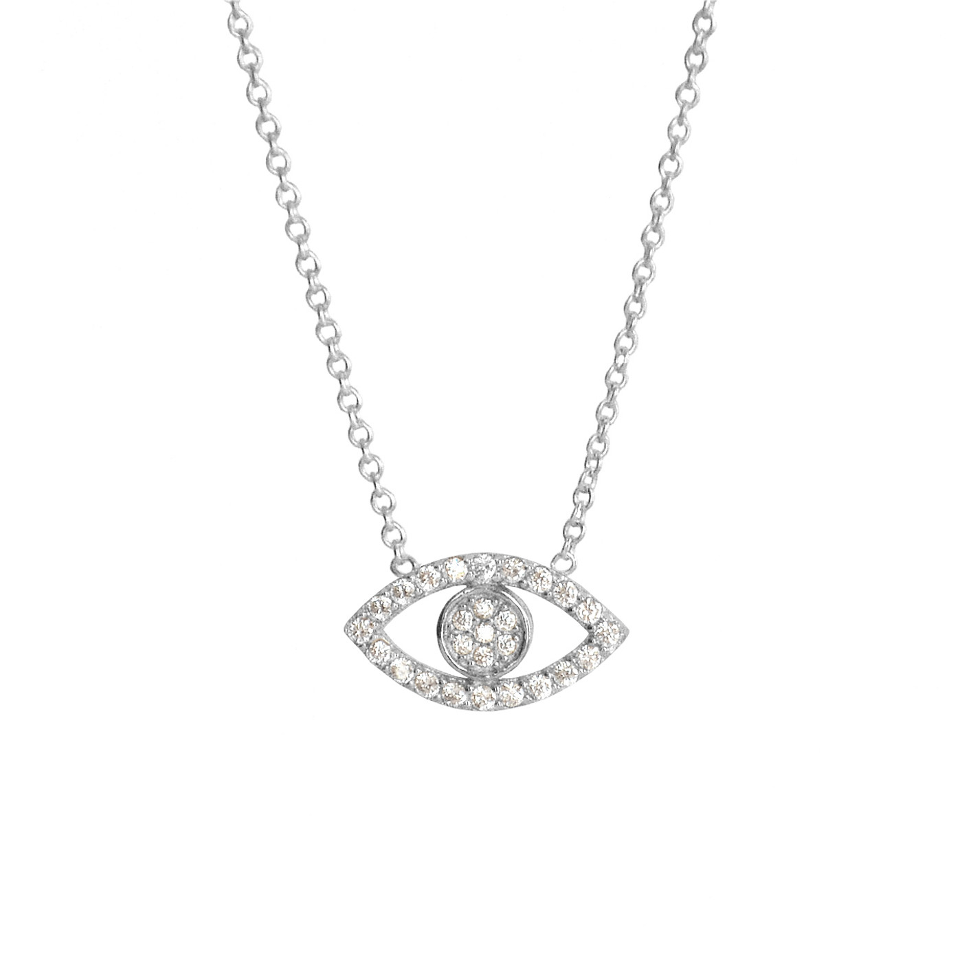 Sterling Silver Delicate Pave Evil Eye Necklace