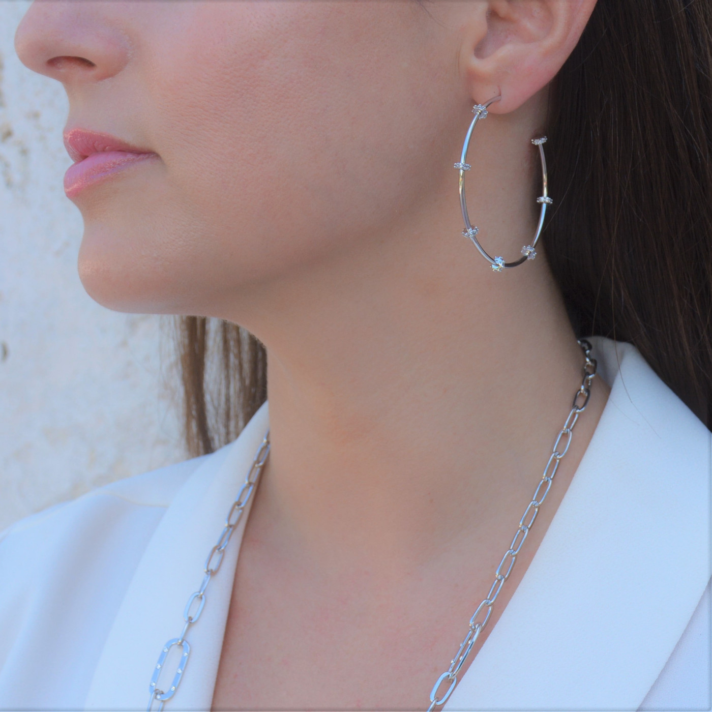 Large Stella Hoops Silver