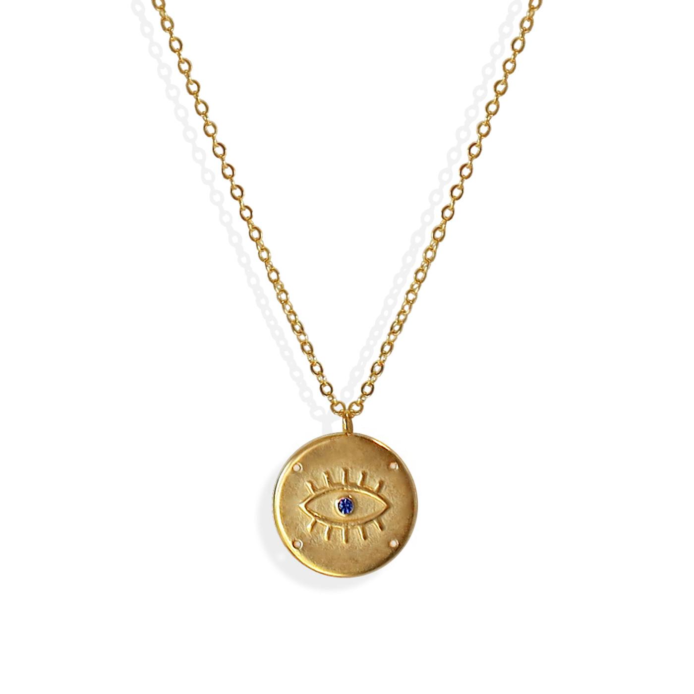 Evil Eye Coin Medallion Necklace