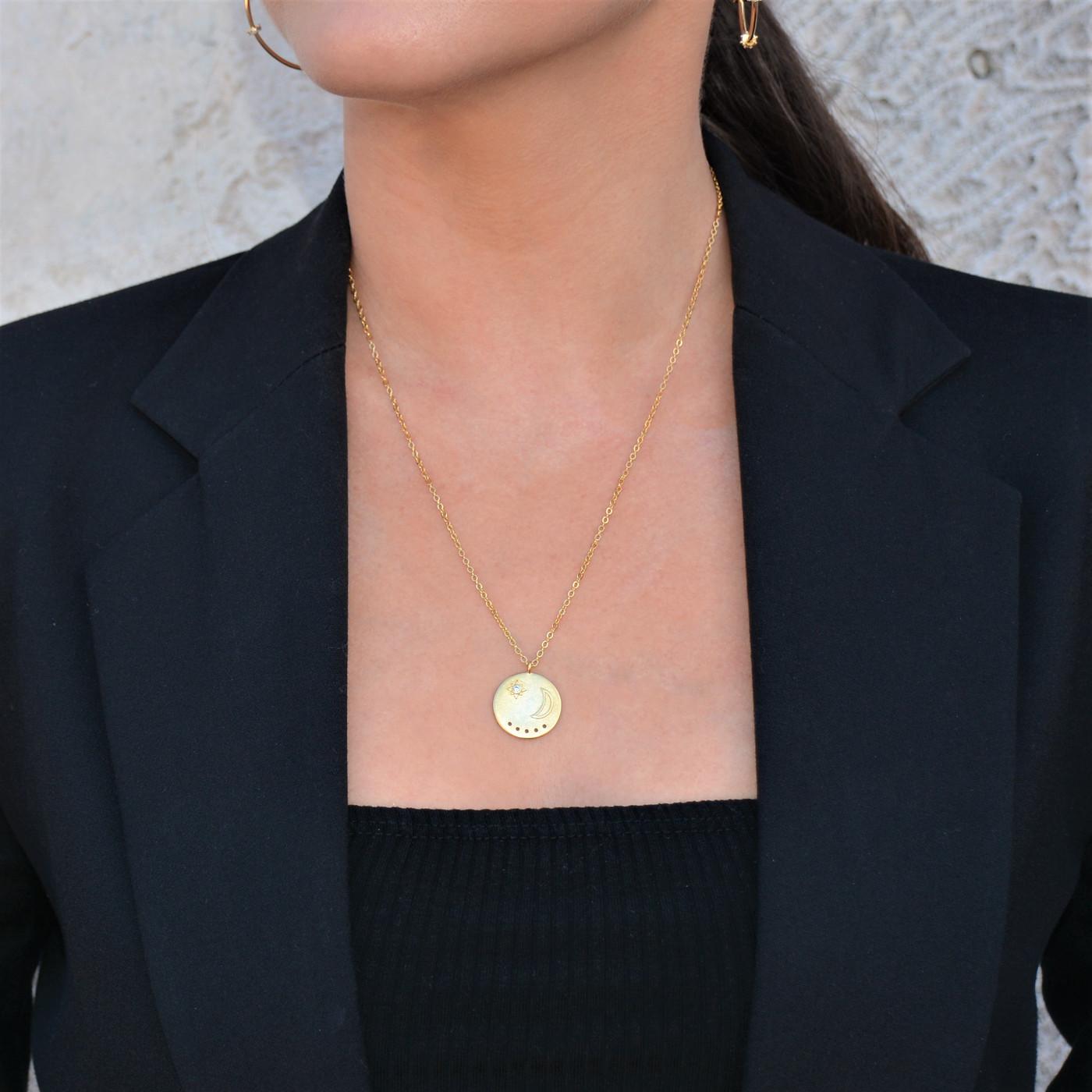 Moon Twilight Coin Medallion Necklace