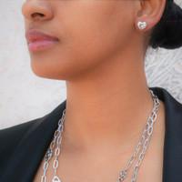 Sterling Silver Heart Starlight Stud Earrings
