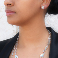 Sterling Silver Circle Starlight Studs Earrings