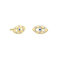 18k Gold Over Sterling Silver Evil Eye Sapphire Studs