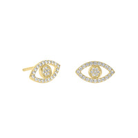 18k Gold Over Sterling Silver Evil Eye Pave Studs