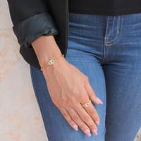 Mini Evil Eye Pave Chain Bracelet Gold