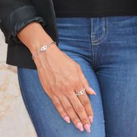 Sterling Silver Evil Eye Pave Ring