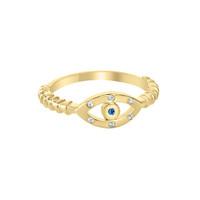18k Gold Over Sterling Silver Evil Eye Sapphire Ring