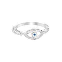 Sterling Silver Evil Eye Sapphire Ring
