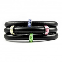 Classic Nappa leather surround with a rainbow of crystal bead,Rich, Rich Nappa leather-Nappa Leather Triple Wrap Bracelet - 4 Sterling Silver Sparkling Multi-Colored Crystals - Easy to Use Magnetic Clasp