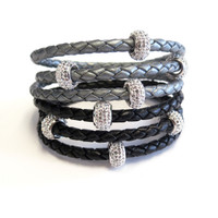 Classic! Rich Braided Leather Triple Wrap Bracelet  4 Sterling Silver Sparkling Crystals  Easy to use Magnetic Clasp  Size: One Size