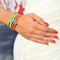 Neon Flash Evil Eye Leather Bracelet