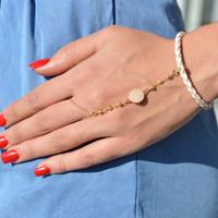 Pave Circle Hand Chain