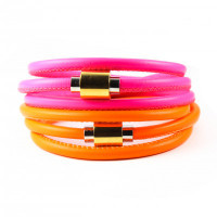 Neon Flash Triple Wrap Leather Bracelet