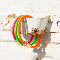Neon Flash Single Leather Bracelet