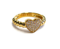 18K Gold over Sterling Silver Touch My Heart Ring