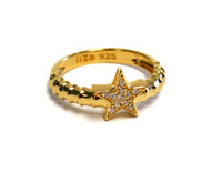 18K Gold over Sterling Silver Touch Star Ring
