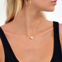 18k Gold Sterling Silver Touch My Heart Necklace