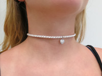 Silver Heart Leather Choker