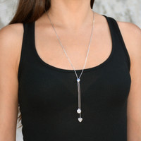 Playful Lariat Necklace Silver