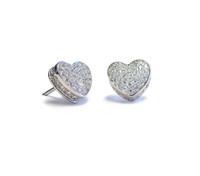 Sterling Silver Touch My Heart Stud Earrings