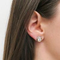 18K Gold over Sterling Silver Nut Stud Earrings