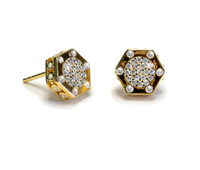 18K Gold over Sterling Silver Monte Carlo Solar Stud Earrings