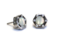 Sterling Silver Monte Carlo Mother of  Pearl Stud Earrings