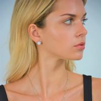 Sterling Silver Monte Carlo Solar Stud Earrings