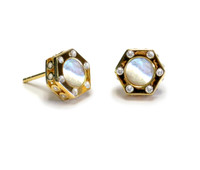 18K Gold over Sterling Silver Monte Carlo Mother of  Pearl Stud Earrings