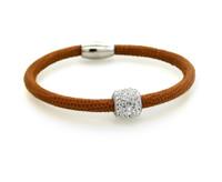 Nappa Leather Bracelet-Snake Print Sterling Silver CZ Bead Magnetic Clasp