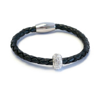 Kids Bedazzle Leather Bracelet  Black