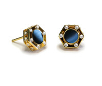 18K Gold over Sterling Silver Monte Carlo Black Onyx Stud Earrings