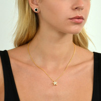 18K Gold over Sterling Silver Monte Carlo Black Onyx Stud Earrings