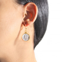 Silver Mercury Dime Coin Earring with Diamond
