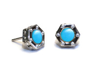 Sterling Silver Monte Carlo Turquoise Stud Earrings