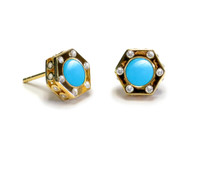 18K Gold over Sterling Silver Monte Carlo Turquoise Stud Earrings