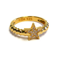 18K Gold over Sterling Silver Touch Ring Stack