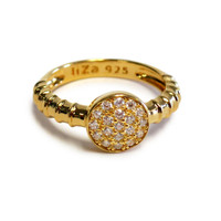 18K Gold over Sterling Silver Touch Ring Stack Evil Eye