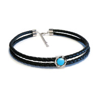 Monte Carlo Turquoise Silver Leather Choker
